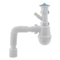 Сифон для мийки KRONOPLAST М-1550 нерж.випуск, вел.пляшка+ вихід під пральну машину