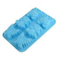 Форма для выпекания силиконовая, 6 ячеек (заяц,медмедь, бабочка)